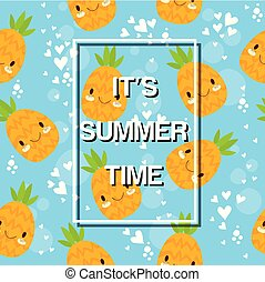 It's Summer Time Smile Pineapple Blue Background Vector Image
