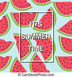 It's Summer Time Watermelon Background Vector Image