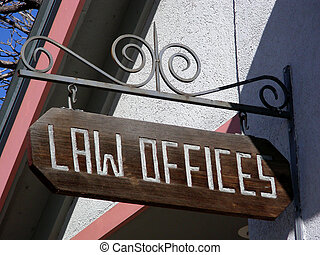 Its the Law - Law office sign hanging from decorative...