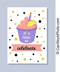 Its Time to Celebrate Postcard Vector Illustration