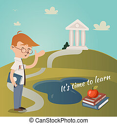 Its Time To Learn vector illustration with a school teacher...