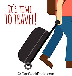 Its Time To Travel Man Drag Baggage Background Vector Image