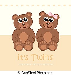 its twins boy and girl welcome greeting card for childbirth with teddy bear