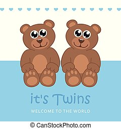 its twins boy welcome greeting card for childbirth with teddy bear