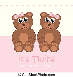 its twins girl welcome greeting card for childbirth with teddy bear