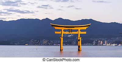 itsukushima聖地, 著名的地方, 在, miyajima., hiroshima., 日本