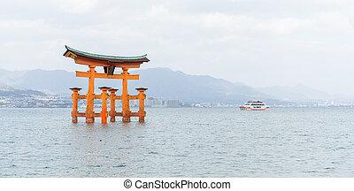 itsukushima, giapponese, sepolcro, shinto, arancia, cancello, galleggiante