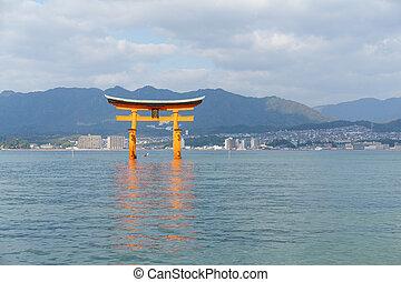 itsukushima,  miyajima, 聖地,  Torii, 門, 日本