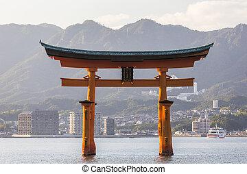 itsukushima, miyajima., famoso, santuario, lugar, hiroshima...
