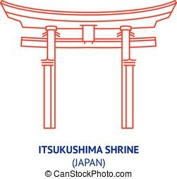 Itsukushima shrine, Japan, vector