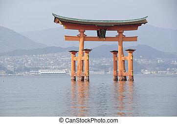 Itsukushima Shrine - Tori gate at Itsukushima Shrine on...