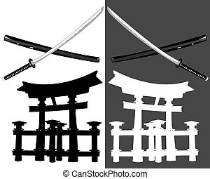 Itsukusima katana - Itsukushima katana and a black and white...
