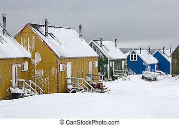 Ittoqqortoormiit at entrance to Scoresbysund - Greenland -...