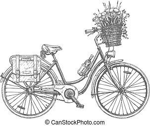 ?ity, fiets, bloemen