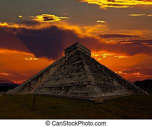 itza, chichen, świątynia, skronie, meksyk