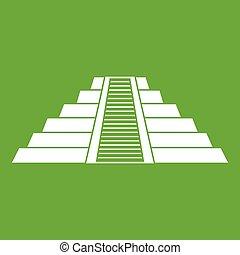itza, chichen, アイコン, 緑, ziggurat