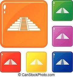 itza, chichen, セット, アイコン, 色, ベクトル, ziggurat