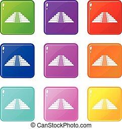 itza, chichen, セット, アイコン, 9, ziggurat