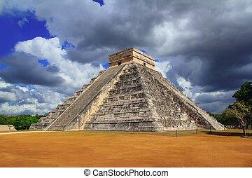 itza, chichen, ピラミッド, メキシコ\, mayan, kukulkan