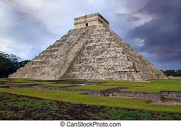 itza, chichen, メキシコ\, el, kukulcan, mayan, castillo