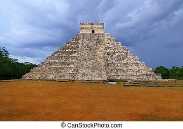 itza, chichen, メキシコ\, el, kukulcan, mayan, templey, castillo
