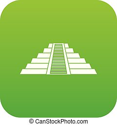 itza, chichen, 緑, デジタル, アイコン, ziggurat