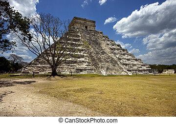itza, chichen, 角度, メキシコ\, tulum, 野生, 寺院