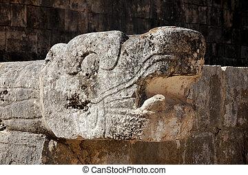 itza, chichen, cabeza, maya, serpiente, tallado
