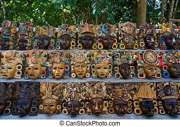 itza, chichen, mayan, handcrafts, マスク, 木