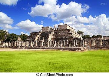 itza, chichen, mexique, guerriers, los, guerreros, temple