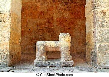 itza, chichen, pedra, onça pintada, figura, méxico, mayan