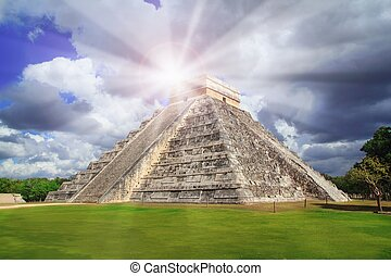 itza, chichen, pirámide, méxico, haz de sol, kukulkan