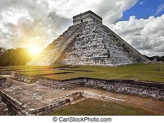 itza,  Chichen, pirámide,  México,  Kukulkan,  Yucatán