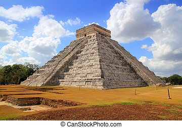 itza, chichen, piramide, el, kukulcan, mayan, castillo