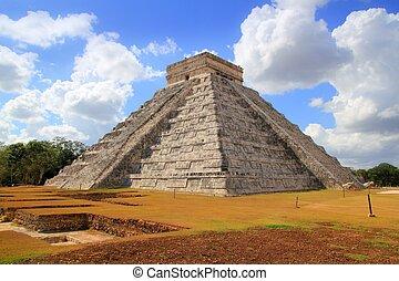 itza, chichen, pyramide, el, kukulcan, maya, castillo