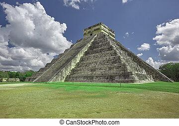 itza, chichen, pyramide, trois, quarts, #3, vue