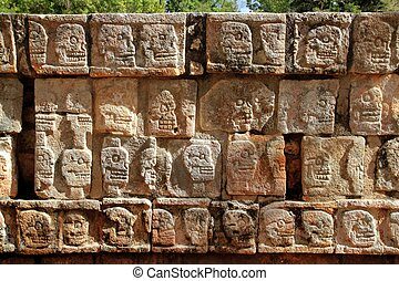 itza, chichen, tzompantli, méxico, pared, maya, cráneos
