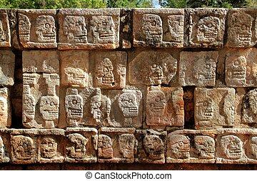 itza, chichen, tzompantli, méxico, parede, mayan, crânios