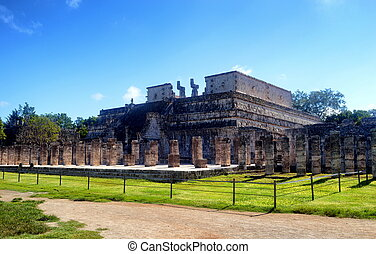 itza, chichen, warriors., 寺院, .yucatan