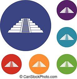 itza, chichen, ziggurat, セット, アイコン
