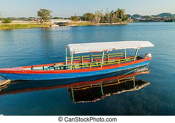 itza, guatema, peten, 湖, nar, flores, ボート