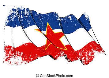 iugoslavo, bandeira, grunge