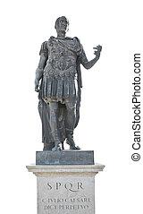 julius caesar emperor statue isolated on white