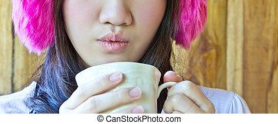 ivás, nő, kávécserje, ázsiai