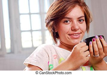 ivás, nő, kávécserje, fiatal