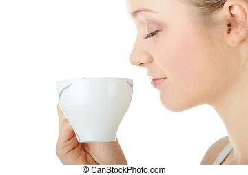 ivás, nő, kávécserje, szőke