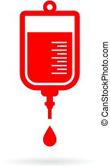 Iv bag and intensive medicine icon on white background