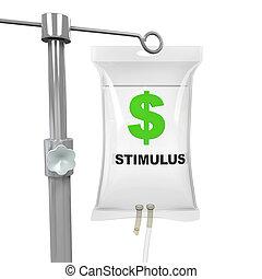 IV Bag Economic Stimulus Illustration isolated on white background. 3D render
