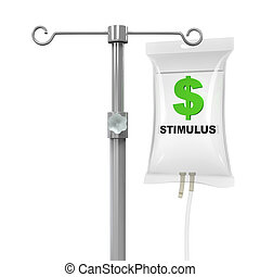 IV Bag Economic Stimulus Illustration isolated on white...