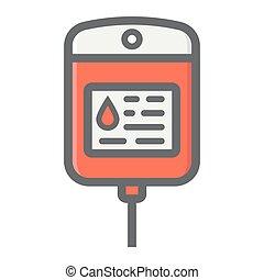 Iv bag filled outline icon, medicine and healthcare, drop...